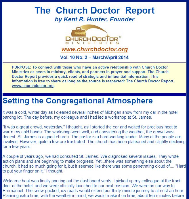 Setting the Congregational Atmosphere: March/April 2014 Church Doctor Report