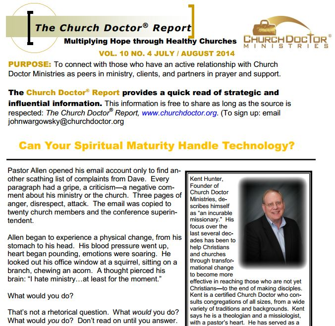 Can Your Spiritual Maturity Handle Technology? – July/August 2014  Church Doctor Report