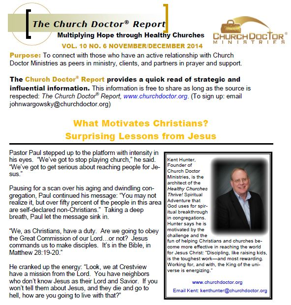 What Motivates Christians? November/December 2014 Church Doctor Report