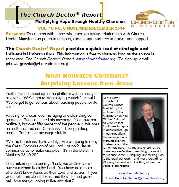 What Motivates Christians? November/December 2014 Church Doctor Report