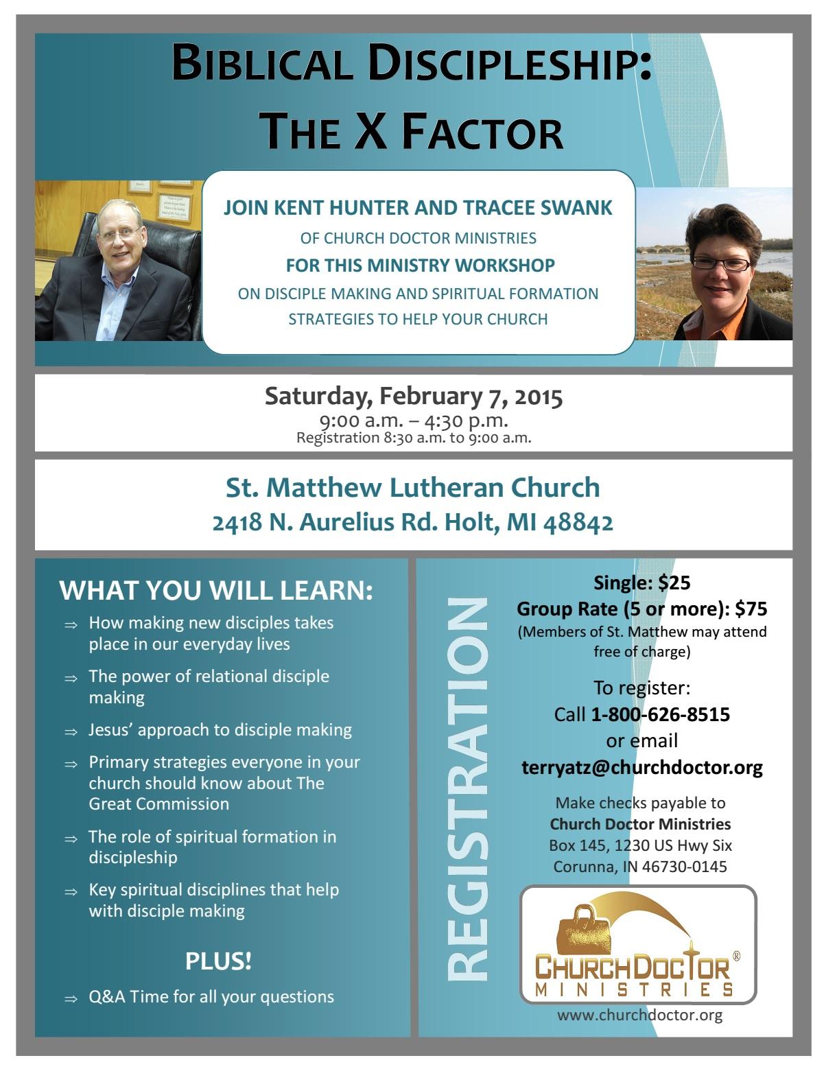 Biblical Discipleship: The X Factor – February 7 in Holt, MI