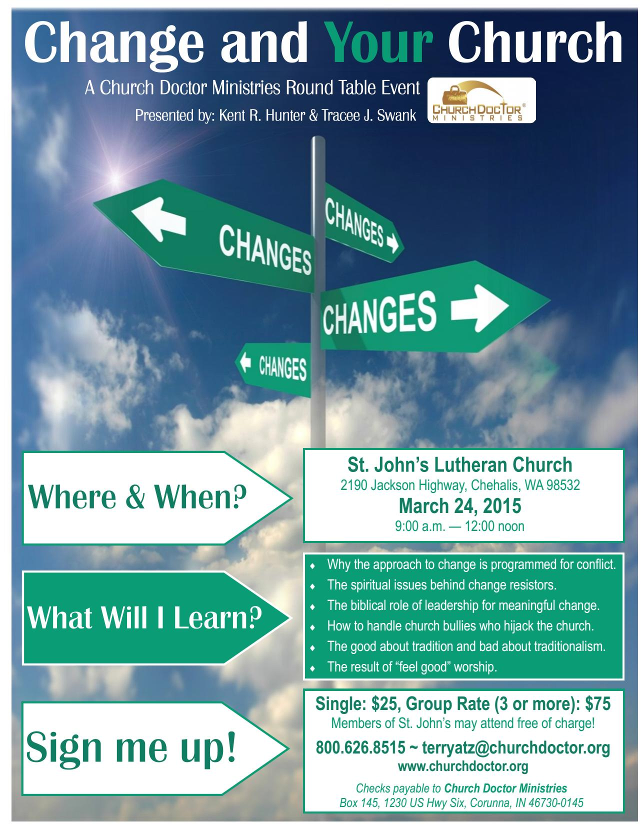 Change and YOUR Church Round Table Discussion – March 24, 2015 – Chehalis, WA
