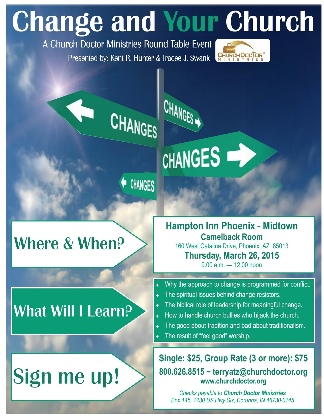 Change and YOUR Church Round Table Discussion – March 26, 2015 – Phoenix, AZ