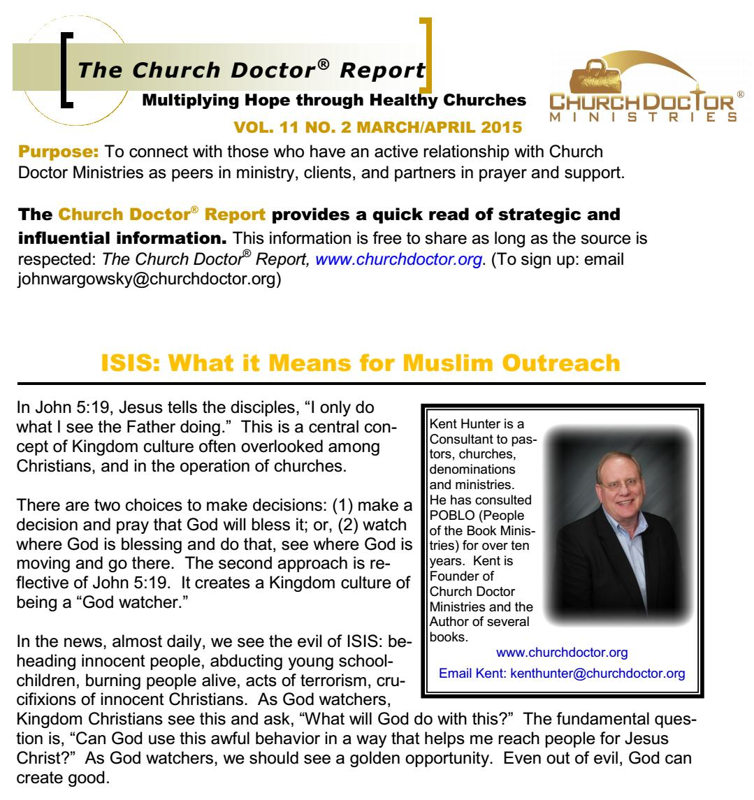 What ISIS Means for Muslim Outreach – March/April 2015 Church Doctor Report