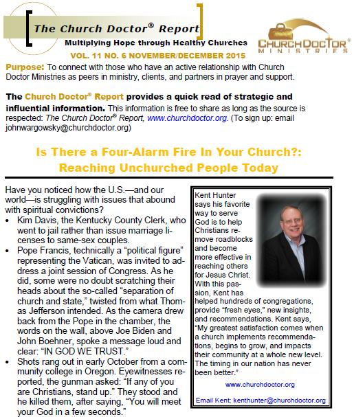 Is There a Four-Alarm Fire In Your Church? — November/December 2015 Church Doctor Report