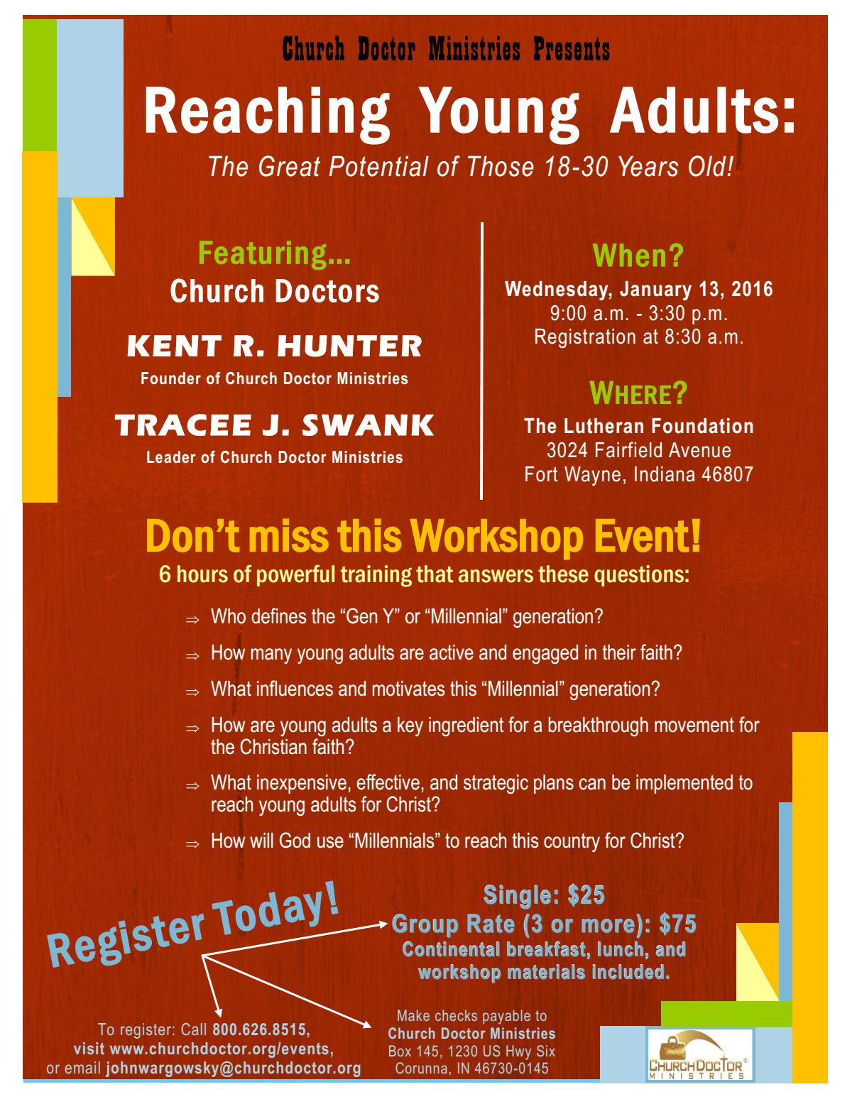 Reaching Young Adults Workshop — January 13, 2016 — Fort Wayne, IN