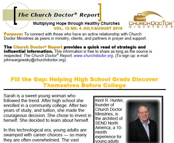 Helping High School Grads Discover Themselves Before College — July/August 2016 Church Doctor Report