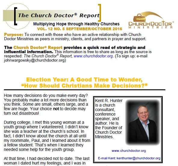 Election Year: A Good Time to Wonder – September/October 2016 Church Doctor Report