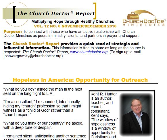 Hopeless in America: Opportunity for Outreach – November/December 2016 Church Doctor Report